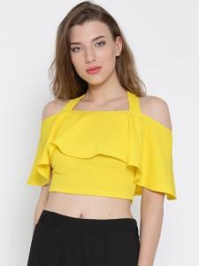 Veni Vidi Vici Casual Half Sleeve Solid, Stylised, Self Design Women's Yellow Top