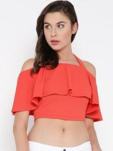 Veni Vidi Vici Casual Half Sleeve Solid, Stylised, Self Design Women's Orange Top