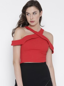 Veni Vidi Vici Party Shoulder Strap, Short Sleeve Solid, Stylised, Self Design Women's Red Top
