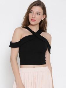 Veni Vidi Vici Party Shoulder Strap, Short Sleeve Solid, Stylised, Self Design Women's Black Top