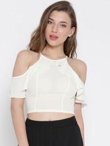 Veni Vidi Vici Casual Shoulder Strap, Shoulder Strap Solid, Self Design, Stylised Women's White Top