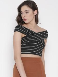 Veni Vidi Vici Party Cap Sleeve, Short Sleeve Striped Women's Black Top