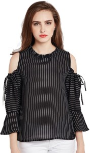 Rare Casual 3/4th Sleeve Striped Women Black Top