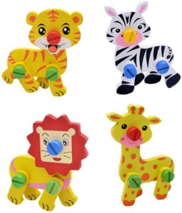 Sanyal Cute Animal Disassembly And Assembly Wooden Educational Puzzle Learning Toy For Kids Multi-color