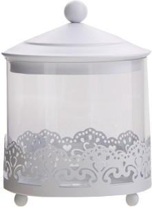 Shrih Sweets Candy Holder Jar- White Metal & Glass  - 500 ml Glass Utility Box