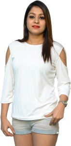 Nice Queen Casual 3/4th Sleeve Solid Women's White Top