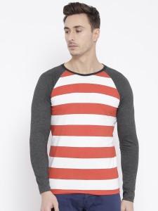Teesort Striped Men Round Neck Red T-Shirt