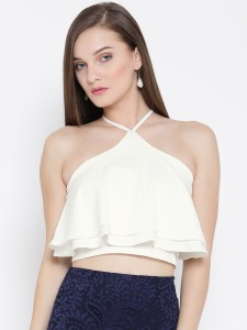 Veni Vidi Vici Party Sleeveless, Noodle strap, Shoulder Strap Solid, Self Design, Stylised Women's White Top