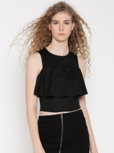 Veni Vidi Vici Casual Sleeveless Solid, Self Design, Stylised Women's Black Top