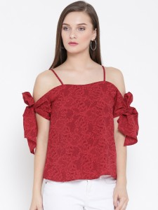 Veni Vidi Vici Casual Short Sleeve, Cap Sleeve, Shoulder Strap, Noodle strap Floral Print, Graphic Print, Printed, Lace, Self Design, Stylised, Woven Women's Red, Multicolor, Maroon Top