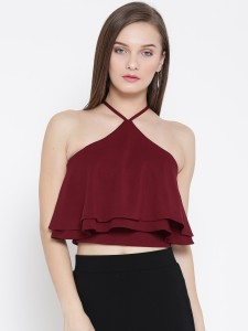 Veni Vidi Vici Party Sleeveless, Noodle strap, Shoulder Strap Solid, Self Design, Stylised Women's Maroon, Red Top