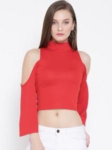 Veni Vidi Vici Casual Full Sleeve, Bell Sleeve, 3/4th Sleeve, Kimono Sleeve Solid, Self Design, Stylised Women's Red Top