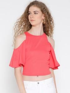 Veni Vidi Vici Casual Short Sleeve, Cap Sleeve, Half Sleeve Solid, Self Design, Stylised Women's Pink, Red, Orange Top