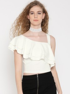 Veni Vidi Vici Party Short Sleeve, Cap Sleeve, Shoulder Strap, Half Sleeve Solid, Self Design, Stylised Women's White Top