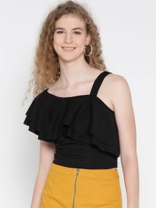 Veni Vidi Vici Party Short Sleeve, Cap Sleeve, Shoulder Strap, Half Sleeve Solid, Self Design, Stylised Women's Black Top