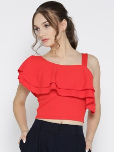Veni Vidi Vici Party Short Sleeve, Cap Sleeve, Shoulder Strap, Half Sleeve Solid, Self Design, Stylised Women's Red, Pink Top