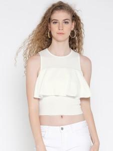 Veni Vidi Vici Casual Sleeveless Solid, Self Design, Stylised Women's White Top