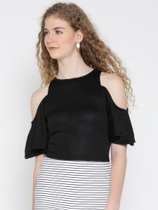 Veni Vidi Vici Casual Short Sleeve, Cap Sleeve, Half Sleeve Solid, Self Design, Stylised Women's Black Top