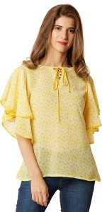 Miss Chase Casual Half Sleeve Floral Print Women's Yellow Top
