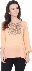 FORELEVY Casual 3/4th Sleeve Solid Women Beige Top