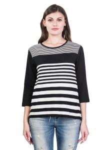 Kalt Casual 3/4th Sleeve Striped Women Black Top