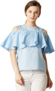 Miss Chase Casual Half Sleeve Solid Women's Light Blue Top