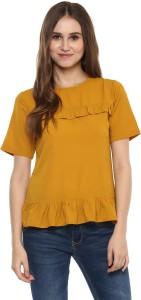 Harpa Casual Half Sleeve Solid Women's Yellow Top