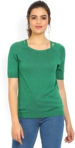 United Colors of Benetton Casual Half Sleeve Self Design Women's Green Top