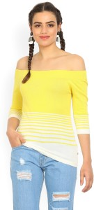 United Colors of Benetton Casual 3/4th Sleeve Striped Women's Yellow Top