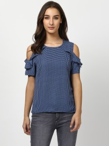 Harpa Casual Half Sleeve Checkered Women's Blue Top