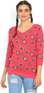 United Colors of Benetton Casual 3/4th Sleeve Printed Women's Pink Top