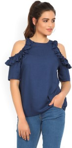 United Colors of Benetton Casual Shoulder Strap Solid Women's Blue Top