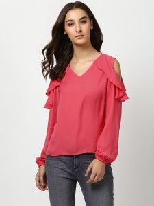 Harpa Casual Full Sleeve Solid Women's Pink Top