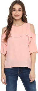 Harpa Casual Half Sleeve Solid Women's Pink Top