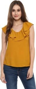 Harpa Casual Cap Sleeve Solid Women's Yellow Top