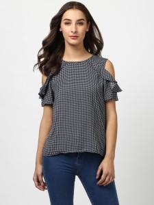 Harpa Casual Half Sleeve Checkered Women's Black Top