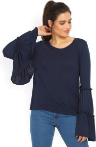 United Colors of Benetton Casual Bell Sleeve Solid Women's Dark Blue Top