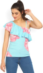 United Colors of Benetton Casual Sleeveless Floral Print Women's Light Blue Top