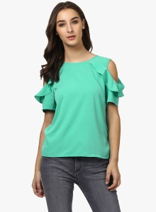 Harpa Party Cold Shoulder Solid Women's Light Green Top