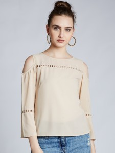 Harpa Casual 3/4th Sleeve Solid Women's Beige Top