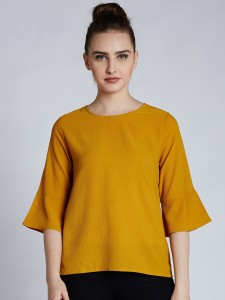Harpa Casual 3/4th Sleeve Solid Women's Yellow Top