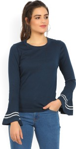 United Colors of Benetton Casual Bell Sleeve Self Design Women's Dark Blue Top