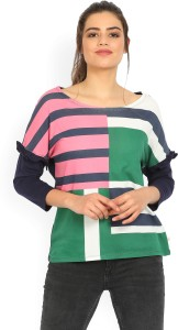 United Colors of Benetton Casual 3/4th Sleeve Striped Women's Multicolor Top