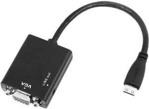 Microware Mini HDMI Male 2 VGA Female with Sound HDMI Adapter (Black) HDMI Cable