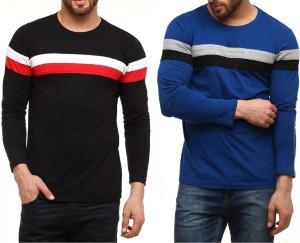 FabryKa Striped Men's Round Neck Black, Blue T-Shirt