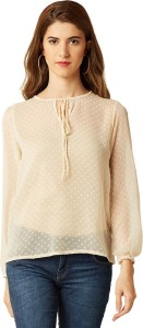 Miss Chase Casual Full Sleeve Printed Women's Beige Top