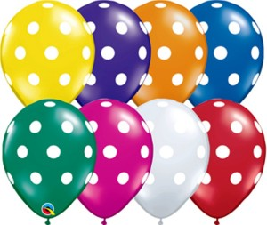 Themez Only Printed Polka Dot Birthday Party Balloons Multi Color 3 PACKETS 75 NOS BalloonMulticolor Pack Of