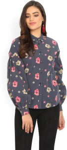 United Colors of Benetton Women's Floral Print Casual Blue Shirt