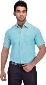 Khadio Men Solid Casual Light Blue Shirt