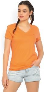United Colors of Benetton Solid Women's V-neck Orange T-Shirt